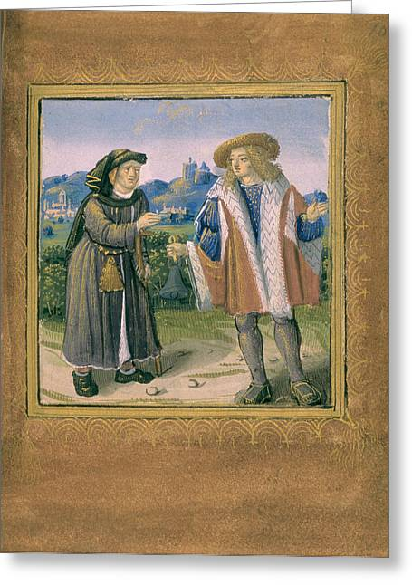 Limping In Front Of A Lame Person Greeting Card by British Library