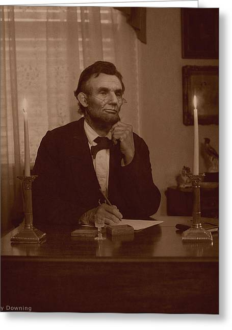 Lincoln At His Desk Greeting Card by Ray Downing