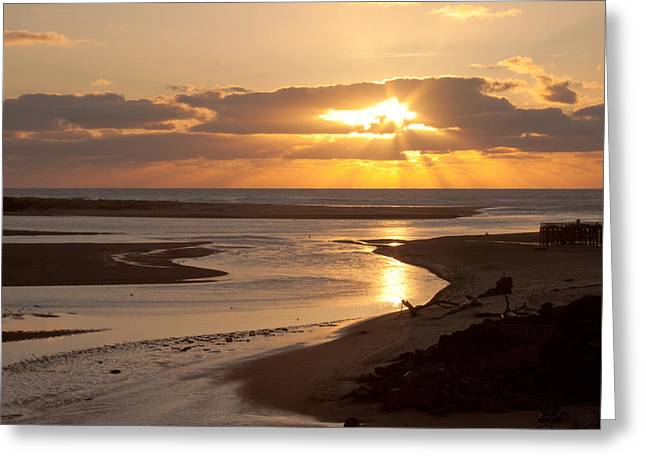 Lincoln City Sunset Greeting Card by John Daly