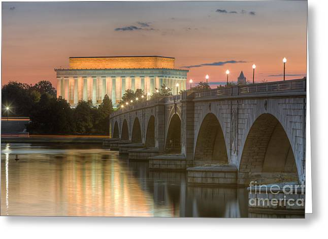 Lincoln Memorial And Arlington Memorial Bridge At Dawn I Greeting Card by Clarence Holmes