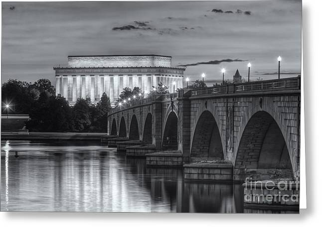 Lincoln Memorial And Arlington Memorial Bridge At Dawn II Greeting Card by Clarence Holmes