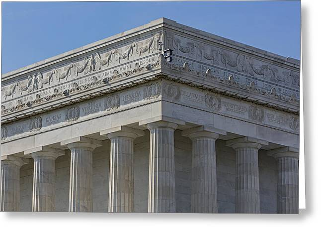 Lincoln Memorial Columns  Greeting Card by Susan Candelario
