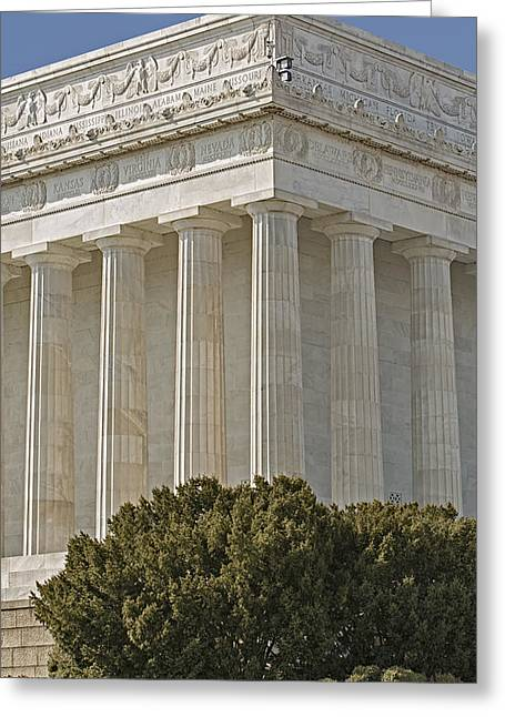 Lincoln Memorial Pillars Greeting Card by Susan Candelario