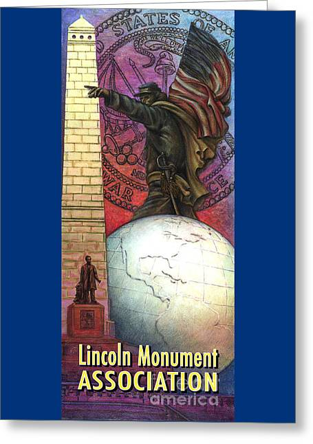 Lincoln Monuments Street Banners Civil War Flag Bearer Greeting Card by Jane Bucci