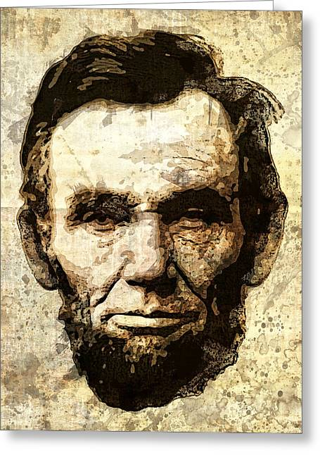 Lincoln Sepia Grunge Greeting Card by Daniel Hagerman