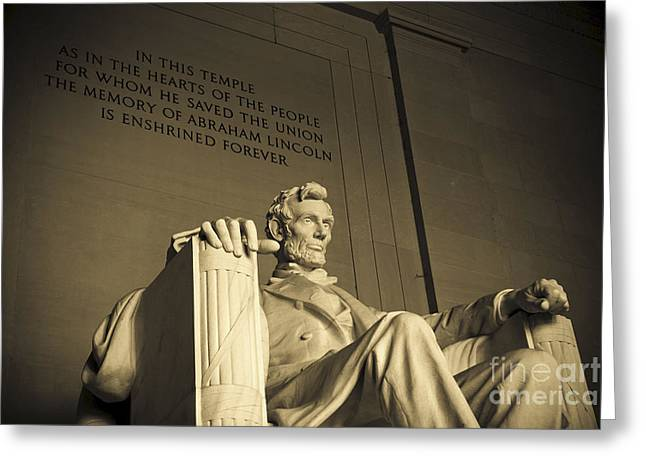 Lincoln Statue In The Lincoln Memorial Greeting Card by Diane Diederich