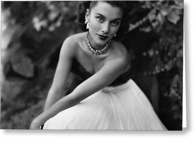 Linda Christian Wearing A Ball Gown Greeting Card by Clifford Coffin