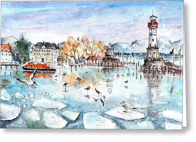 Lindau Harbour In Winter Greeting Card by Miki De Goodaboom