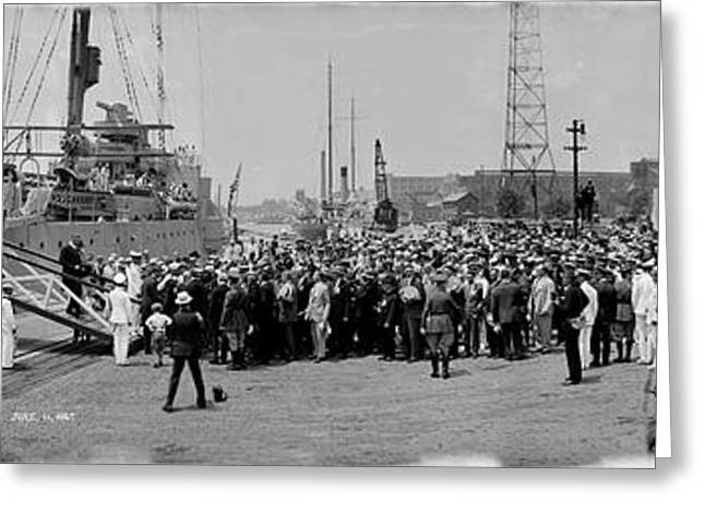 Lindbergh Disembarks Uss Memphis Greeting Card by Fred Schutz Collection