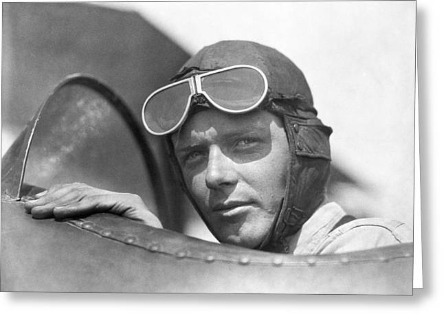 Lindbergh In Cockpit Greeting Card