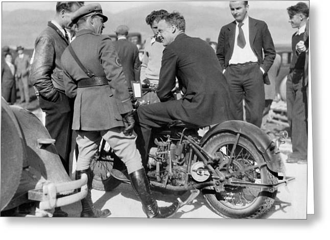 Lindbergh Rides Motorcycle Greeting Card by Underwood Archives