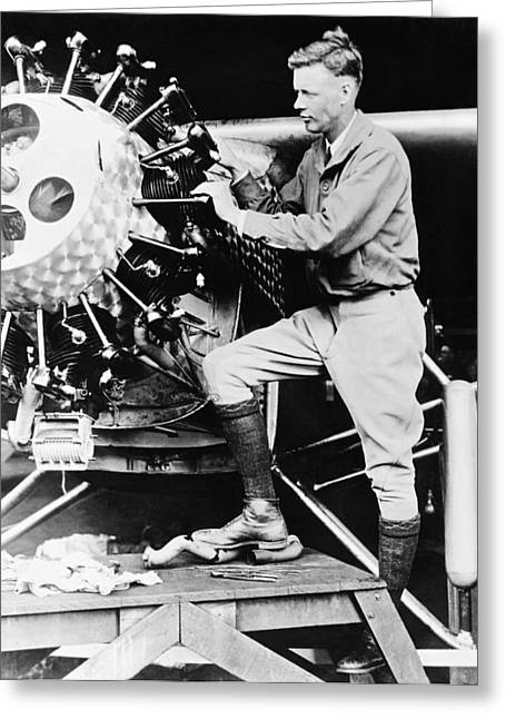 Lindbergh Tunes Up Plane Greeting Card