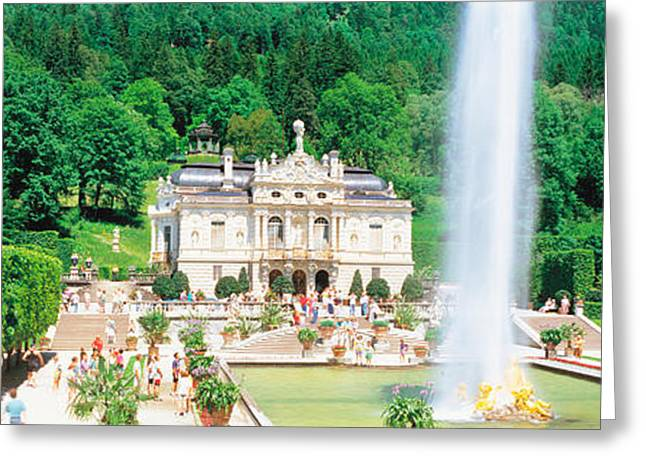Linderholf Castle Alpine Street Germany Greeting Card