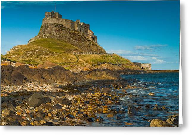Lindisfarne Castle Greeting Card by David Ross