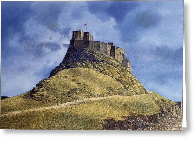 Greeting Card featuring the painting Lindisfarne Castle by Tom Wooldridge
