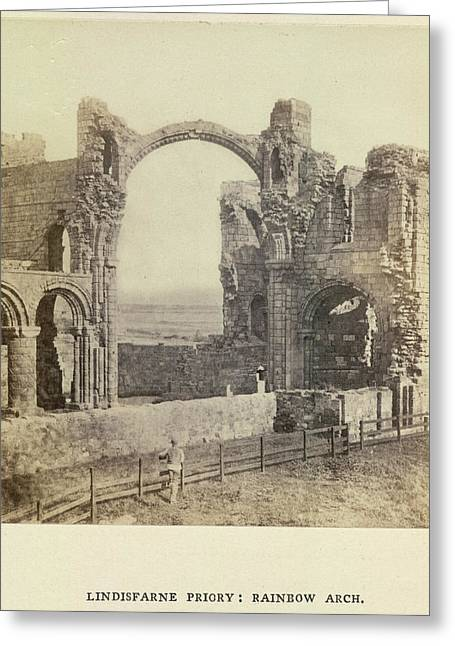 Lindisfarne Priory: Rainbow Arch Greeting Card by British Library