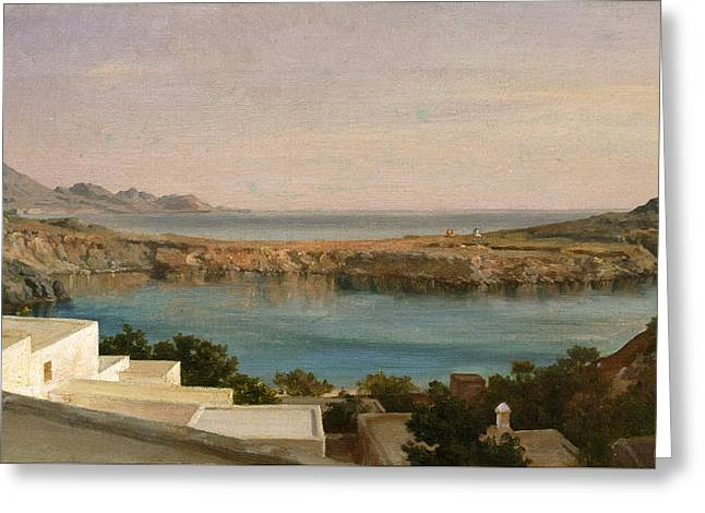 Lindos Rhodes Greeting Card by Frederic Leighton