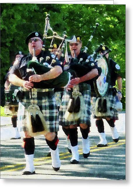 Line Of Bagpipers Greeting Card by Susan Savad