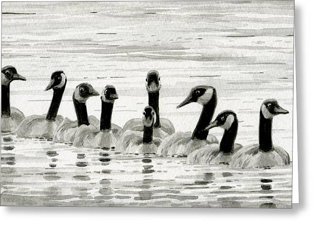 Line Of Geese Greeting Card