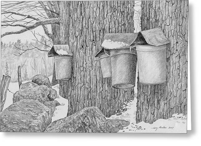 Line Of Sap Buckets Greeting Card