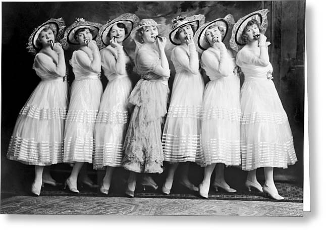Line Of Seven Theater Women Greeting Card