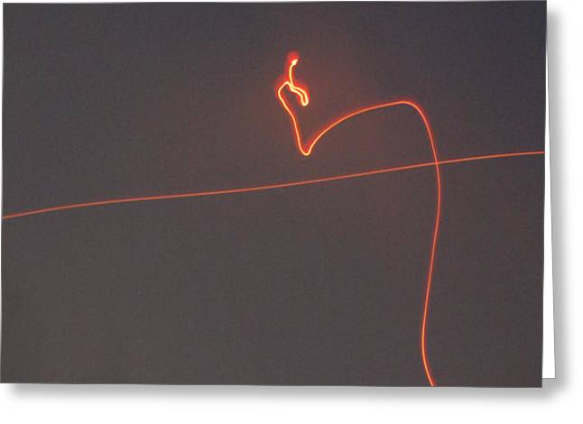 Linear Abstract Fireworks  Greeting Card by Jani Freimann