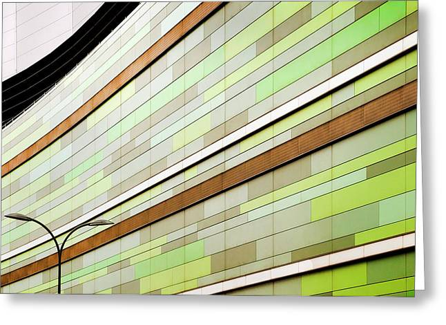 Linear In Green Greeting Card
