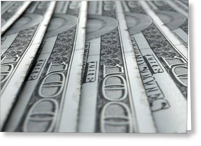 Lined Up Close-up Banknotes Greeting Card