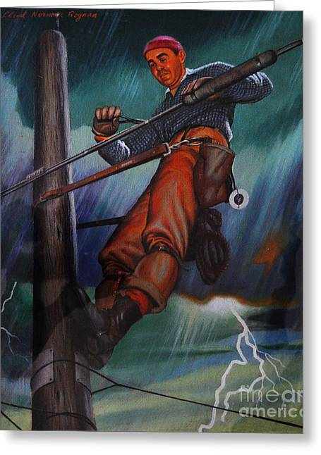 Lineman In Storm Greeting Card