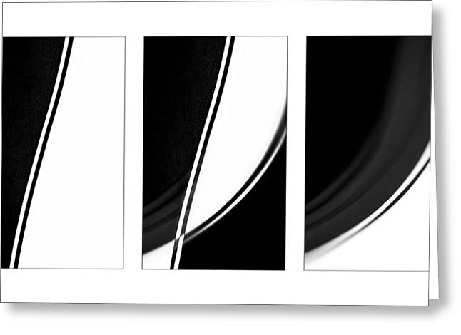 Lines And Curves In Black And White Greeting Card by Natalie Kinnear