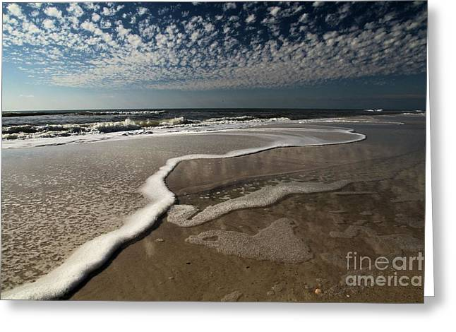 Lines Of Salty Foam Greeting Card by Adam Jewell