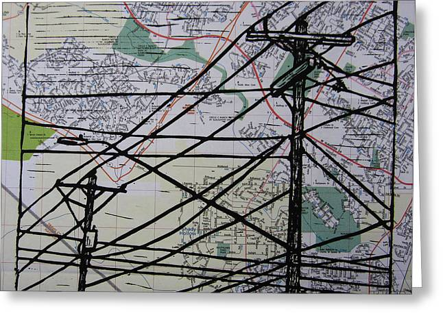 Lines On Map Greeting Card by William Cauthern