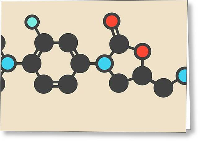 Linezolid Antibiotic Drug Molecule Greeting Card by Molekuul