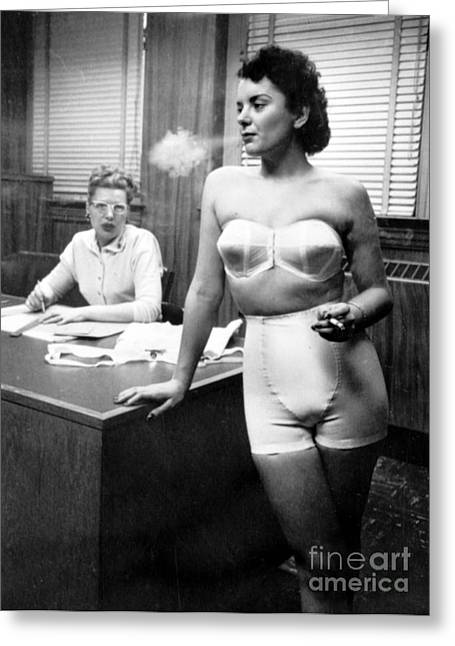 Lingerie Model, 1949 Greeting Card by Science Source