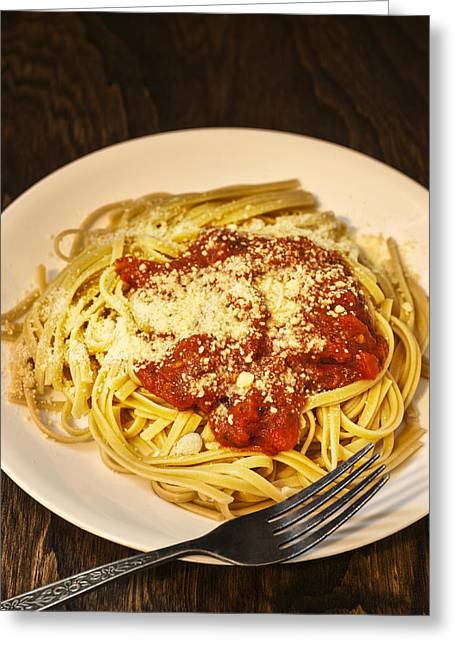 Linguine With Tomato Sauce And Parmesan Cheese Greeting Card by Donald  Erickson
