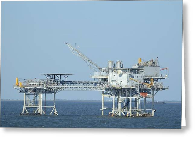Linked Oil Platforms Greeting Card