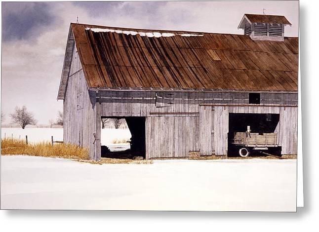Lin's Barn Greeting Card by Tom Wooldridge