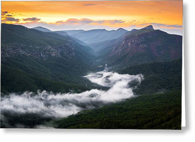Linville River Of Fog Greeting Card