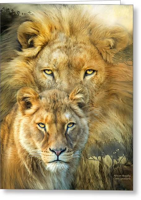 Lion And Lioness- African Royalty Greeting Card by Carol Cavalaris