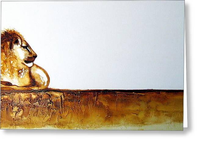 Lion And Lioness - Original Artwork Greeting Card