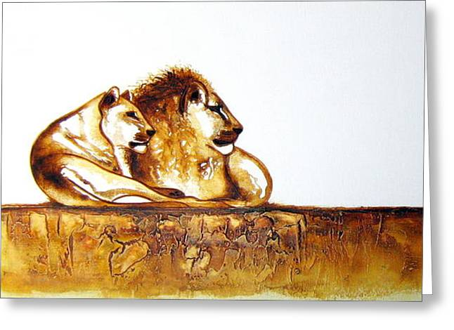 Lion And Lioness - Original Artwork Greeting Card