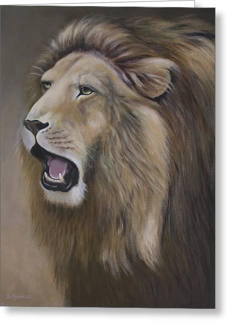 Lion Greeting Card by Barbara Hymer