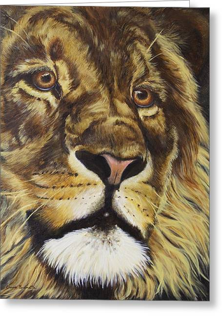 Lion Greeting Card by Christine Brunette