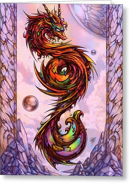 0e028e3bc38 Lion Dragon Greeting Card by David Bollt