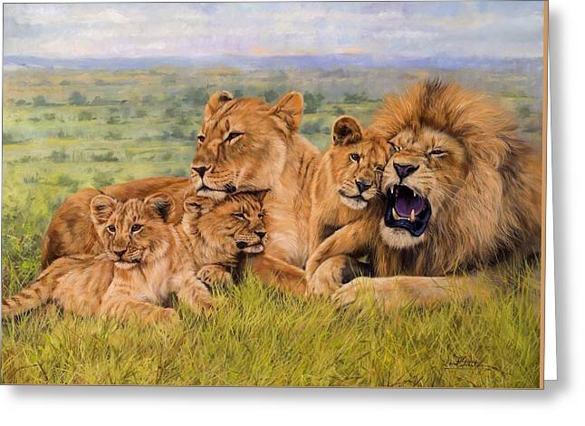 Lion Family Greeting Card by David Stribbling