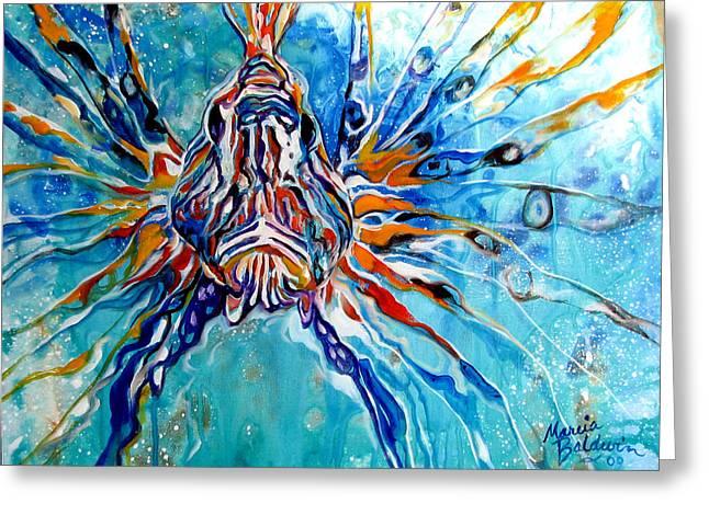 Lion Fish Blue Greeting Card