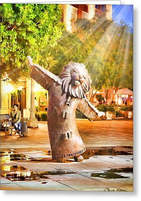 Lion Fountain Greeting Card by Chuck Staley