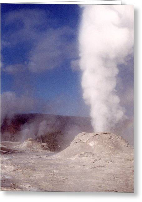 Lion Geyser In Full Vent Mode Greeting Card by Mary Bedy