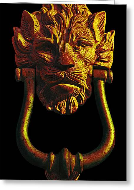 Lion Head Antique Door Knocker In Black And Gold Greeting Card by Jane McIlroy