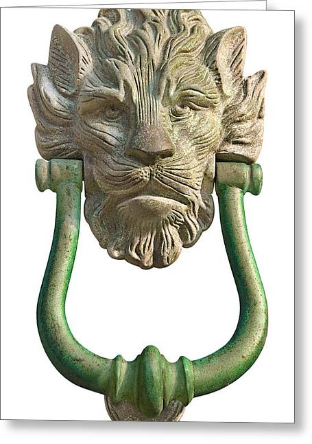 Lion Head Antique Door Knocker On White Greeting Card by Jane McIlroy